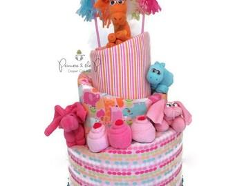 Diaper Cake. Girl Baby Shower. Jungle. Safari. Baby Girl. Safari baby shower. Decorations. Cetnterpiece.  Baby Shower Gift