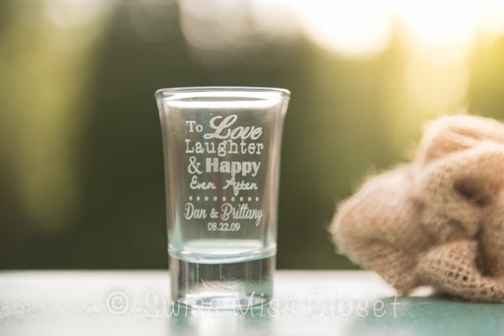24 Custom Etched Tall Shot Glasses Personalized Wedding Favor Groom's Men Gift