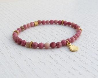 Rhodochrosite bracelet, Pomegranate jewelry, Stretch bead bracelet