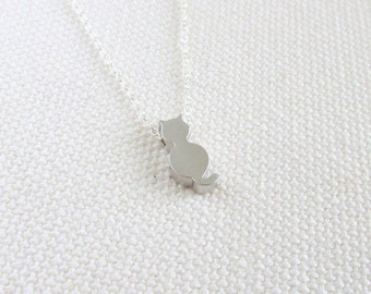 Tiny Cat Necklace, Sterling Silver Chain, Quirky Animal Tiny Petite Simple Jewelry, Cute Kitty