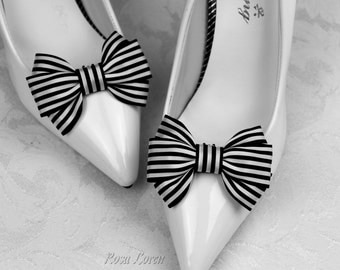 Black and White Stripe Shoe Clips, Black & White Striped Bow Shoe Clip, Black and White Clip Shoes, Black and White Wedding Accessories