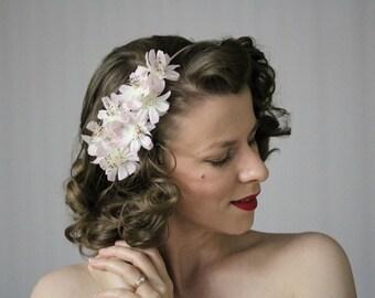 "Pale Pink Fascinator, Floral Headband, Silk Flower Headpiece, Cosmos Hair Accessory, Vintage Hair Band Women 1950s - ""Clandestine Gardens"""