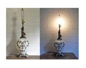 Hollywood Regency Lamp Mid Century Lamp Angel Lamp Cherub Lamp  Brass Filigree Lamp Glass Table Lamp Boudoir Lamp Living Room Lamp White 60s