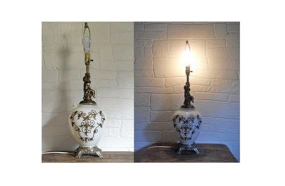 Hollywood Regency Lamp Mid Century Lamp Angel Lamp Cherub Lamp