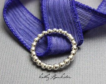 Beaded Sterling Silver Ring, Silver Ball Ring, Stackable Rings, Sterling Silver Ring, Sterling Silver Jewelry, Kathy Bankston, Dot Ring