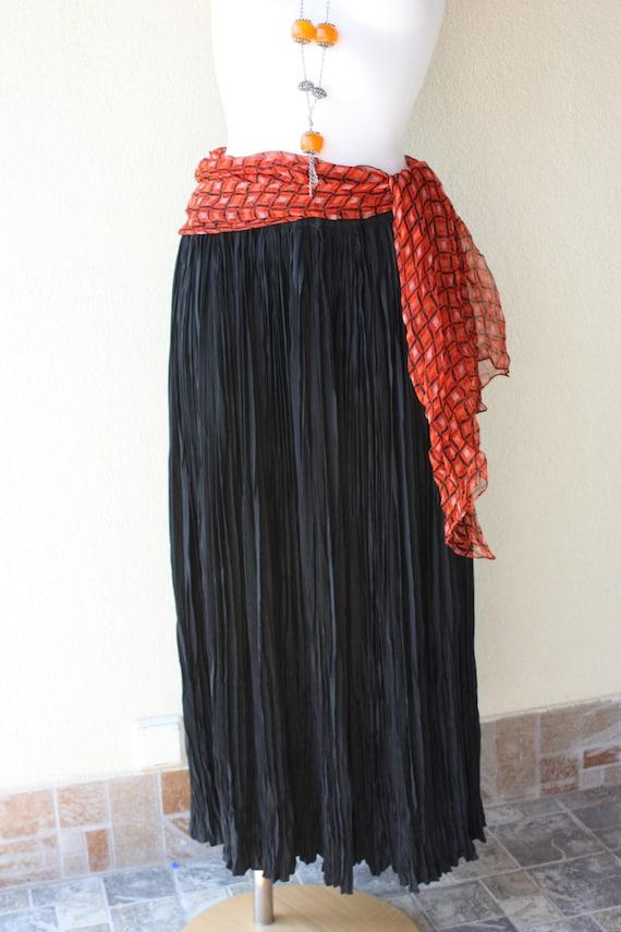 boho black maxi pleated skirt plus size heavy by