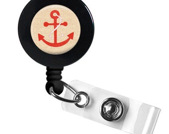 Nautical Anchor Badge Reel, red, black or blue anchors, badge holder, ID holder, retractable,