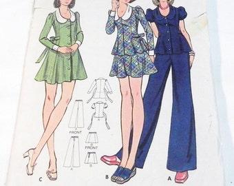 "1970s Princess Seam Mini dress or Top and Straight leg Pants sewing pattern Butterick 3015 Size 5 6 Bust 28"" UNCUT"
