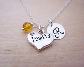 Family Charm Necklace -  Swarovski Birthstone Initial Personalized Sterling Silver Necklace / Gift for Her - Family Necklace