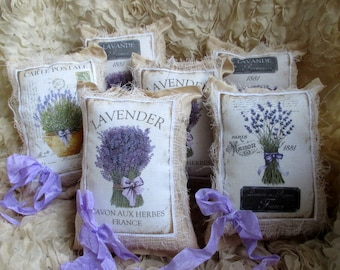 6 French LAVENDER Sachets, French Script, Paris, Bridal, Party, PRIMITIVE, Shabby Sachets~Set of 6~ Shabby Sachets~SWEET!!!