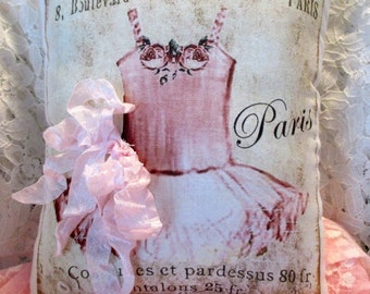 FRENCH Ballerina PILLOW, French Script, Ballerina Tutu, Paris, Shabby Pillow  #C20