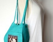 Turquoise Personal Effects Sequin Elephant Shoulder Bag Hemp Fabric Hmong Thailand EM607