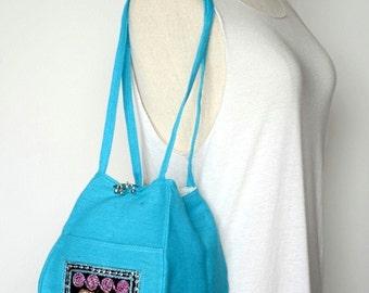 Light Blue Personal Effects Sequin Elephant Shoulder Bag Hemp Fabric Hmong Thailand EM609