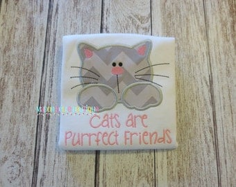 Cats are Purrfect Friends Appliqued Shirt - Embroidered, Personalized, Monogram, Cats, Kitten, Girls Cat Shirt, Boys, Kitten, Friends