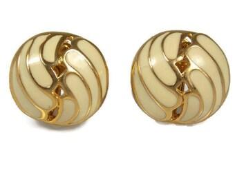 Napier Enamel Earrings Creamy Beige