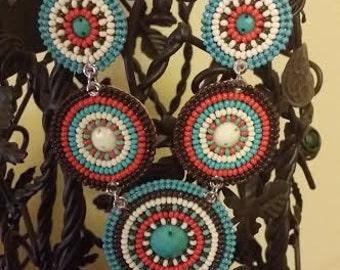 Soco Basket Necklace, Native American, Inspired, Southwestern, Beaded, Bib, Handmade, Trendy , Dangle, Jewelry,