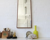 Vintage Large Art Deco Bevelled Edge Wall Mirror with Wooden Frame