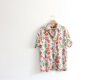Bright Tropical Print 90s Shirt