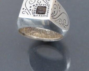 Silver Signet Ring with Smoky Quartz