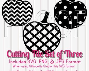 Pumpkin SVG Cut File Set of 3-svg png & jpg formats all included-Commercial use ok! Cut files Silhouette for Vinyl Etc Chevron Pumpkin Dots