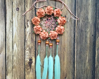 "3"" Floral Mint and Peach Dream Catcher"