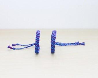 Set of Hearts Friendship Bracelets Blue and Purple Valentines Woven Bracelets