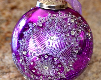 Paisley Glass Ornament Handpainted Ornament Cristmas Ornament Crystals on Purple Color Glass Ornament, Handmade Ornaments