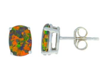 14Kt White Gold Black Opal Oval Stud Earrings