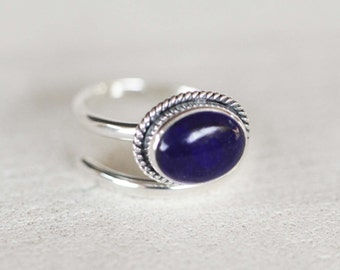 Adjustable Gemstone Ring, Hand Hammered Silver, Lapis Lazuli, Personalized, Bohemian, Silver, 925 Sterling Silver,