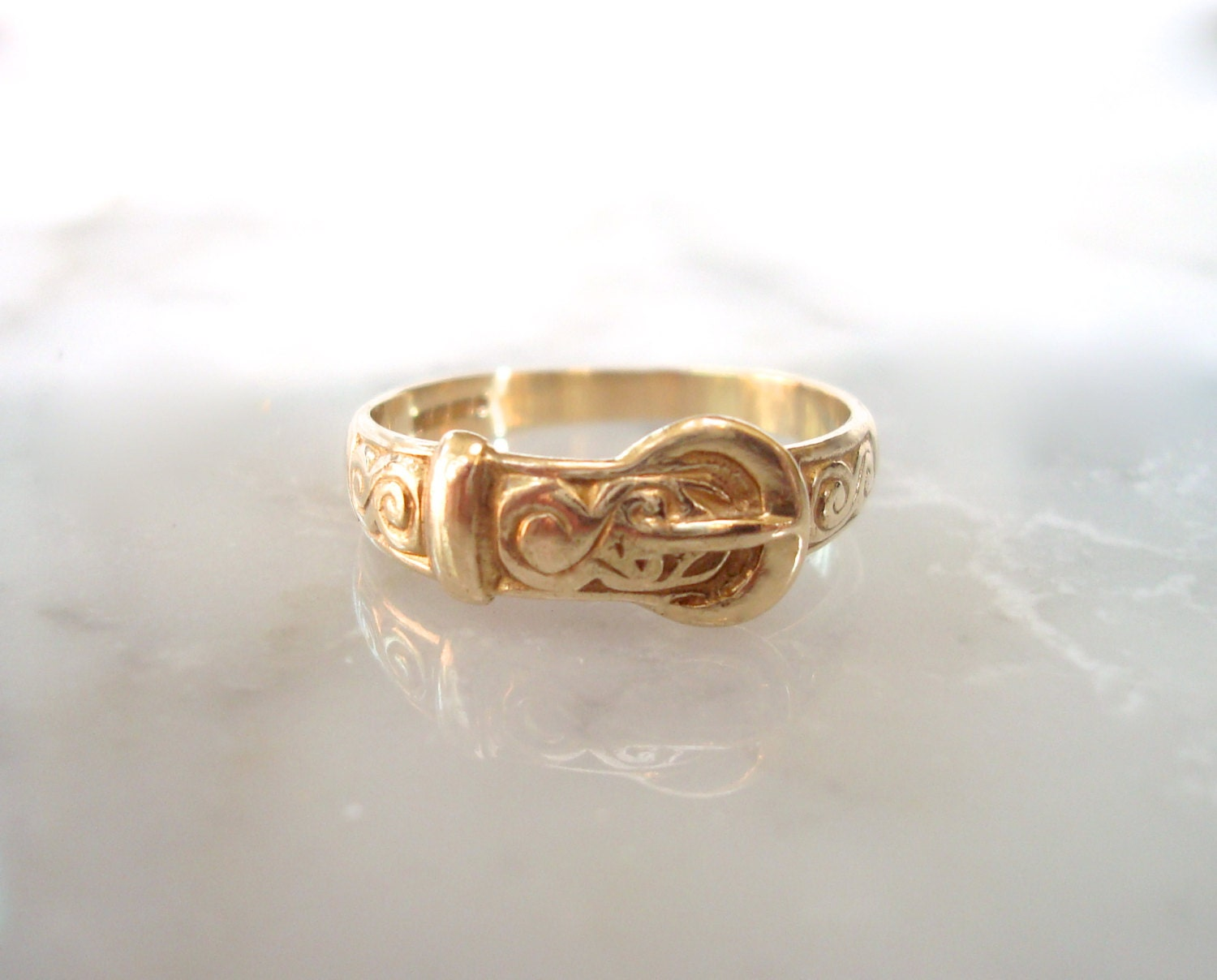 Gold Buckle Ring Solid Gold Hallmarked Wedding Or Right Hand