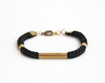 Black bracelet with tubes, knit cord bracelet, minimalistic stackable bracelet, cotton rope bracelet