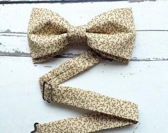 Dark Beige Bow Tie for Men light brown bow tie small leaves bow tie wedding bow tie groomsmen bow ties dandy bow tie gift for boyfriend