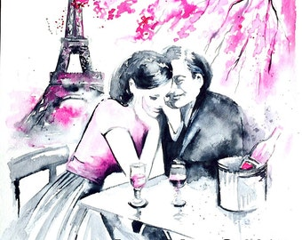 Love Paris Romantic Bliss Watercolor - Parisian Romance Illustration - Lana's Art - Art Print of Paris Love