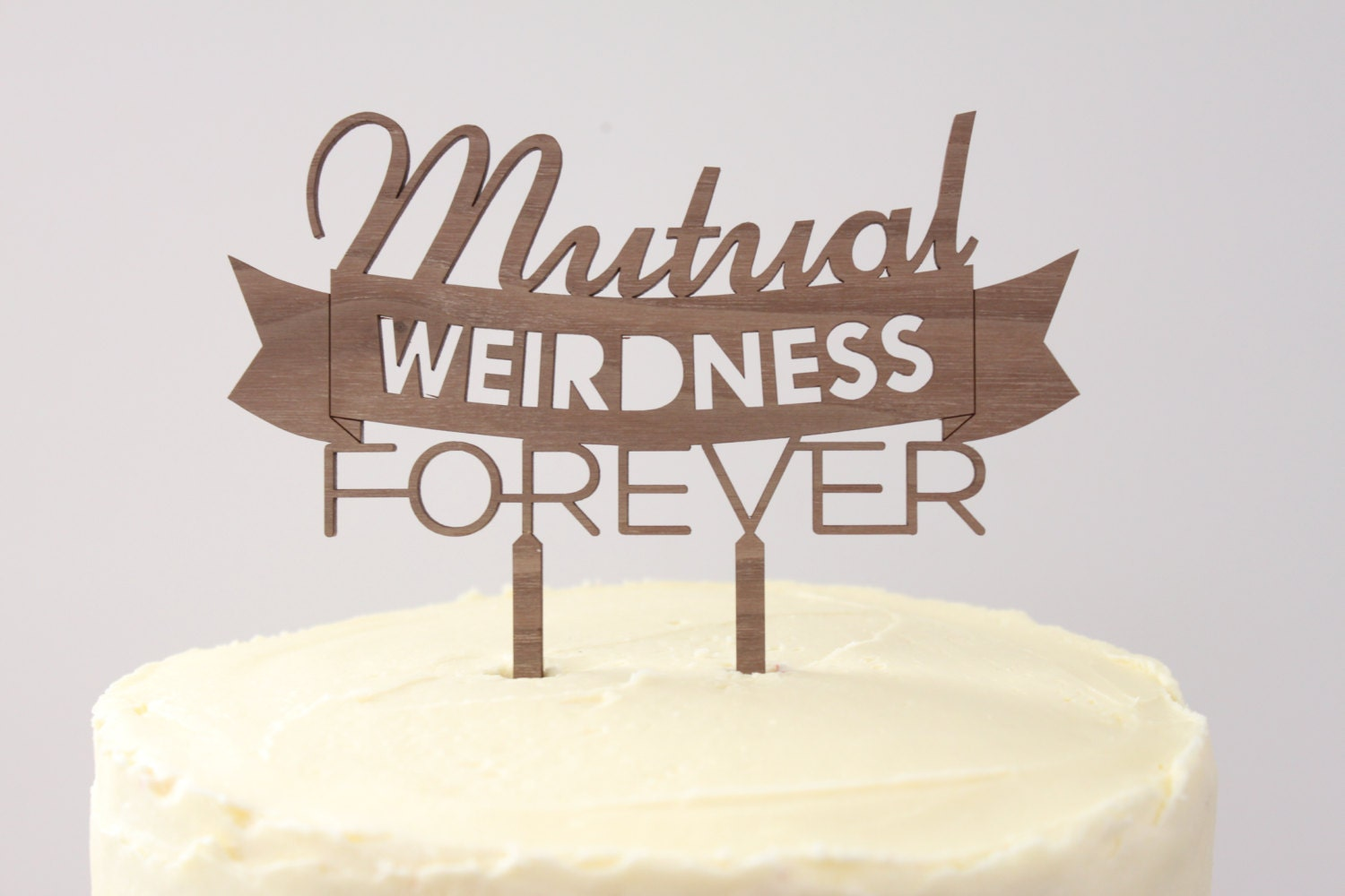 mutual weirdness forever timber wedding cake topper