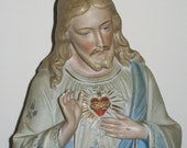 """Vintage / Antique Bisque French Statue of Jesus    """"Sacred Heart""""    Sacre Coeur .  Religious Collectors."""