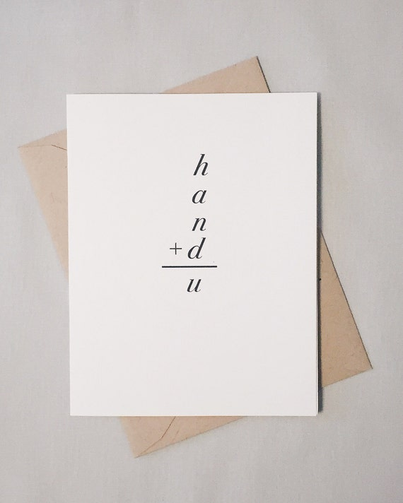 You Are Hand-Sum / Handsome Math Equation Card / I Love You / Valentine / Anniversary / Just Because Card / Positively Awesome / Math Nerd
