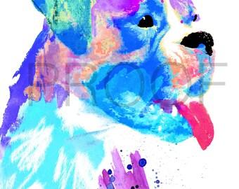 Boxer || Beau the Boxer || Dog Art || Watercolor || Boxer Dog || Dog Watercolor