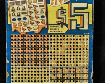 Vintage Money Punch Board High Five Game