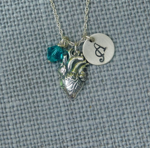 Sterling silver human heart necklace, hand stamped disk, human heart charm, anatomical heart, survivor jewelry, personalized necklace