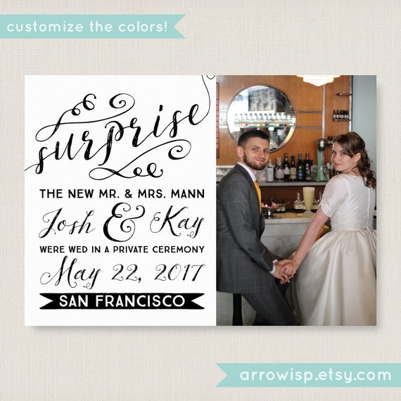 Wedding Gifts For Couples Who Eloped : Elopement announcement. Elegant wedding announcement, available as a ...