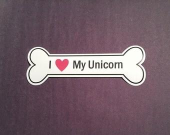 I Heart My Unicorn Bumper Sticker - White, Bone-Shaped (I Love My Unicorn)