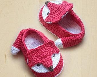 Crochet Patterns Fox Baby Booties Fox Preemie Socks Fox Applique Foxy Baby Slippers Crochet Pattern Foxy Baby Shoes (FB04-O-PAT)