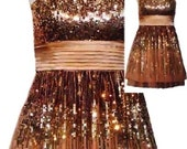 Gold and Beige Sequin Mini Dress with Removable Straps and Satin Tie Back Sash, Vintage 90's - Size XSmall