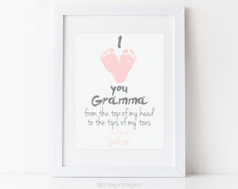 Gift for Grandma, New Grandmother, Personalized I Love you Gramma Baby Footprint Art Print using Your Child's Feet, 8x10 in UNFRAMED