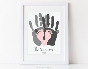 Gift for New Dad - First Father's Day Gift - Baby Footprint and Handprint Art Print - Personalized Family Portrait - Baby Footprint Art