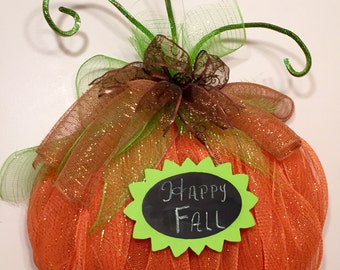 Fall mesh pumpkin wreath