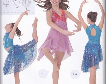1077 Simplicity Girls' Knit Dancewear Sewing Pattern Sizes S-M-L (Sizes 7-16)