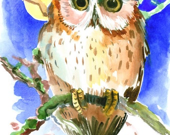 Baby Owl, original watercolor painting, 15 x 11 in, chockolade brown bright blue children art, kids wall art