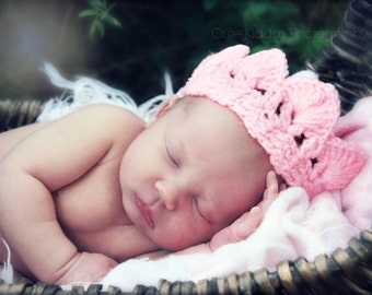 PINK crochet tiara princess crown newborn infant baby girl 1st photography prop topper new baby shower gift