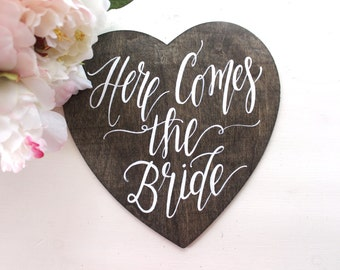 Here Comes the Bride Sign, Ring Bearer Sign, Flower Girl Sign, Rustic Vintage Wedding, The Paper Walrus